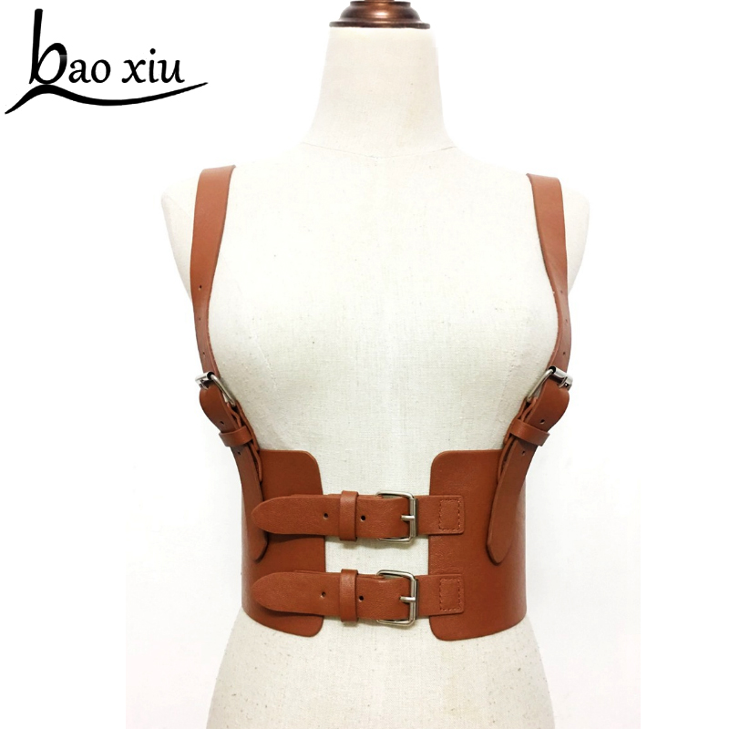 New women Bondage Leather   Belt   Cowboy Chest Harness Body Bondage Corset female Slimming Waist   Belt   Suspenders Straps