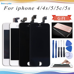 No Dead Pixel LCD Or Display for iPhone 4 4S Or For iPhone SE or for iPhone 5 5s Touch Screen With Temper Glass & Tool