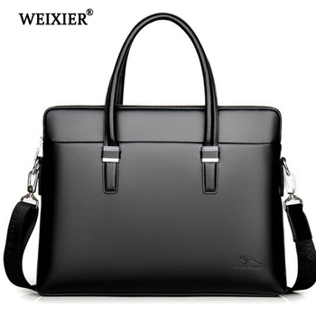 WEIXIER PU Leather Men Briefcase Hangbags Business Laptop Tote Bag For Male Crossbody Bags Business man Briefcase Casual Should