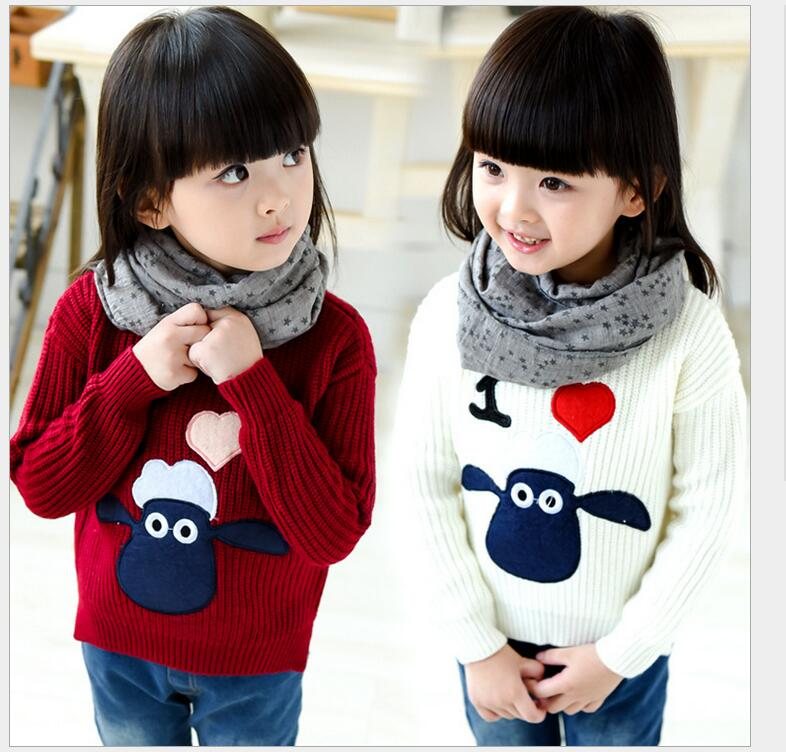 New 2017 Spring Fashion Knitted Sweater Baby Girl Clothing Casual Pullover Printted Cute Carton O neck
