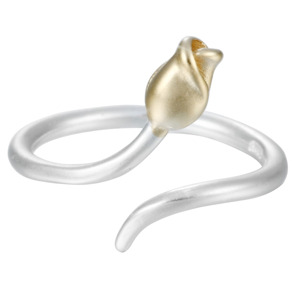 Netherlands National Flower Elegent Tulip 925 Sterling Silver Opening Adjustable Gold Women Midi Finger Ring Fashion Jewelry