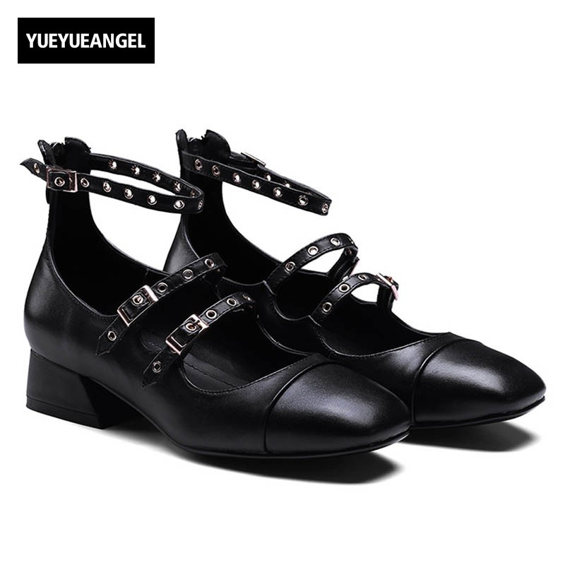 Vintage Women Genuine Leather Shoes Buckle Ankle Strap Black Brown Casual Round Toe Pumps Block Heel Comfort Students Streetwear lucyever women vintage square toe flat summer sandals flock buckle casual shoes comfort ankle strap women footwear mujer zapatos