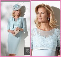 O Neck half sleeve Knee length Mother of the Bride Applique Satin Elegant mother dress for wedding party with jacket