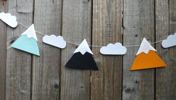 Handmade Mountain Cloud Felt Garlands Christening Buntings