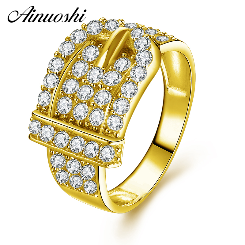 AINUOSHI 10K Solid Yellow Gold Cluster Ring Shinning CZ Buckle Ring Luxurious Bridal Band Ring Wedding Engagement Women JewelryAINUOSHI 10K Solid Yellow Gold Cluster Ring Shinning CZ Buckle Ring Luxurious Bridal Band Ring Wedding Engagement Women Jewelry