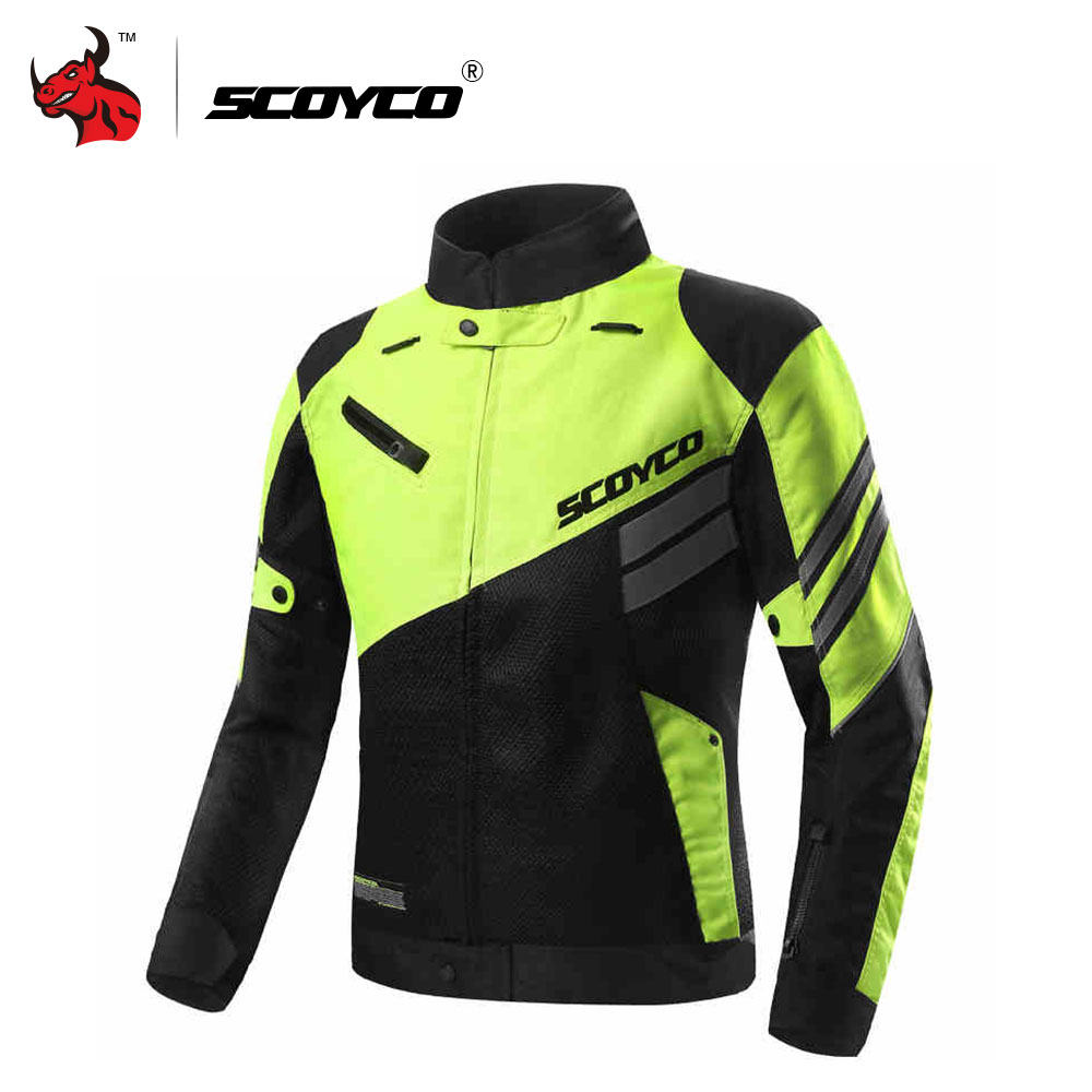 SCOYCO Motorcycle Jacket Summer Breathable Mesh Moto Jacket Protective Gear Motocross Off Road Jacket Protective Clothing