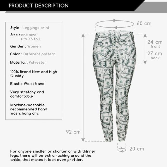 Women Girl Leggings 3D Dollars Printed Stretched Funny Legging Jepping Pants