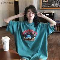 T-shirts Women Cartoon Printing Leisure Soft Loose Streetwear Tees Womens Funny T Shirt Female Harajuku Summer Clothing Girls