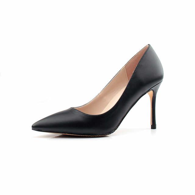 3167f6ae882e Zapatos negros de Mujer Zapatos de tacón alto de 8 CM zapatos de cuero de  PU de Mujer Zapatos de tacón de fiesta de diseñador Sexy tacones altos ...