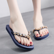2019 Fashion Women Slippers Crystal Flip Flops Flat Shoes Summer Black/Blue/Red Female Shoes Casual Lady Shoes Woman Footwear hot sale 2016 summer woman shoes rhinestone flat woman shoes fashion casual shoes wild concise female flip flops dt194