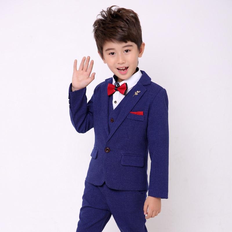 все цены на 3pieces (Coat+Vest+Pants) Boys Suits for Weddings Kids Blazer Suit for Boy Costume Enfant Garcon Mariage Garcon Blazer Boys