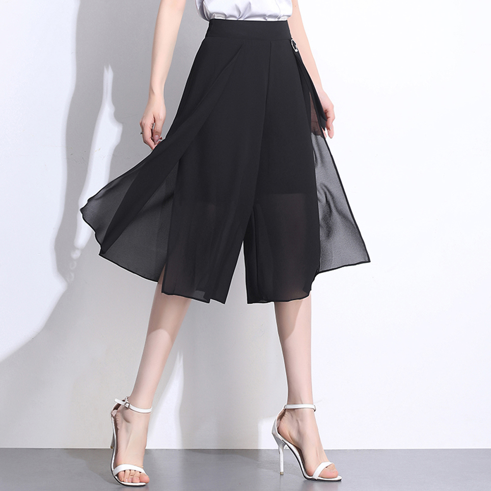 Ladies Elegant Summer Chiffon   Pants     Capris   Comfortable Soft Wide Leg Women   Pants   High Elastic Waist Loose Dance Skirts   Pants