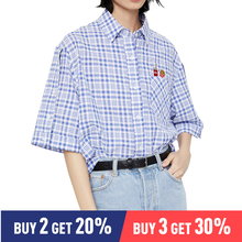 Toyouth Women Blouse and Tops Turn Down Collar Plaid Embroidery Pattern Streetwear Female Blusas