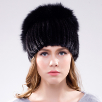 JKP New natural Mink Fur Solid Hats For Women's Winter Hats 2018 Russia Fashion Caps Knit Hats DHY18 24