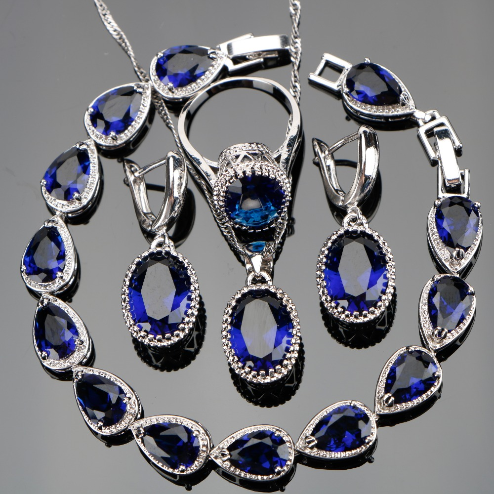 Special Offer 925 Sterling Silver Jewelry Sets For Women Oval Blue Cubic Zirconia Earrings Rings Pendant