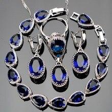 Специальное предложение 925 комплектов серебряных украшений для Женщины Овальный синий кубического циркония серьги/кольца/Подвеска/ожерелье /браслеты