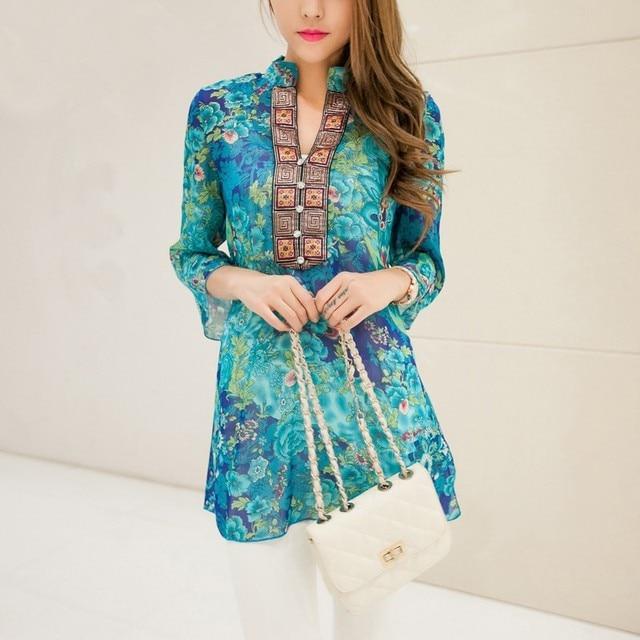 4c17648c68 plus size chiffon women blouses bohemian indian tops summer blusas 5XL  embroidery long shirt blouse dress ladies blouses shirts