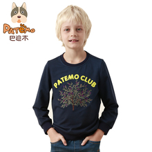 PATEMO Boys Full Sleeves T-shirts O-neck 100% Cotton Kids Knitted Top Tees Navy Blue Rib Neck Cuff Fashion Children's Clothing
