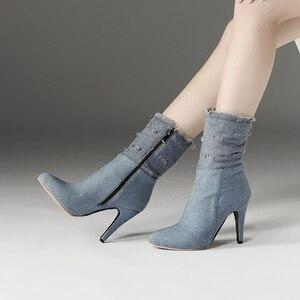 Image 5 - BLXQPYT زائد كبيرة وصغيرة الحجم 28 50 الدنيم التمهيد قصيرة أشار تو المرأة الخريف الشتاء عالية الكعب أحذية الزفاف امرأة Y72