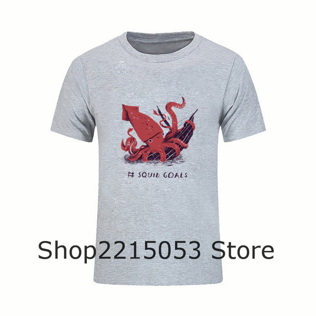 Men Squid Goals T-Shirt Anime crossfit Plus Size T Shirt Squad Goals Tshirt  Male 3e3280494c19