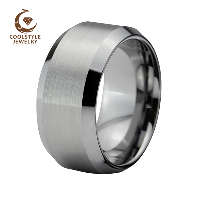 12mm Large Width Tungsten Wedding Band Ring Men Brushed Top Beveled