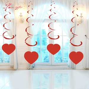 6PCS/Lot White&Red Love Heart Ceiling Hanging Swirl Decoration Wedding Party Ornaments Room Decoration Wedding Supplies Garland