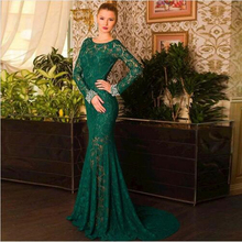 Robe De Soiree Mermaid Bateau Long Sleeve Beading Vestido De Festa Longo Green Evening Pageant Dress Open Back Long Prom Dresses