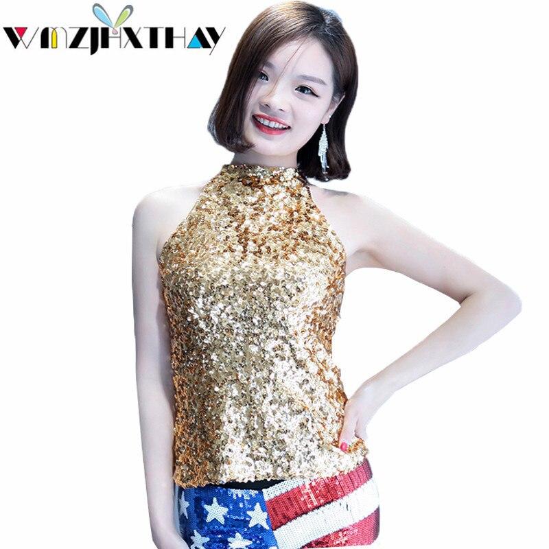 WMZJHXTHAY mode Sexy paillettes t-shirt 2019 nouvelles femmes été fronde gilet hauts doux mince scène Performance vêtements JXT071