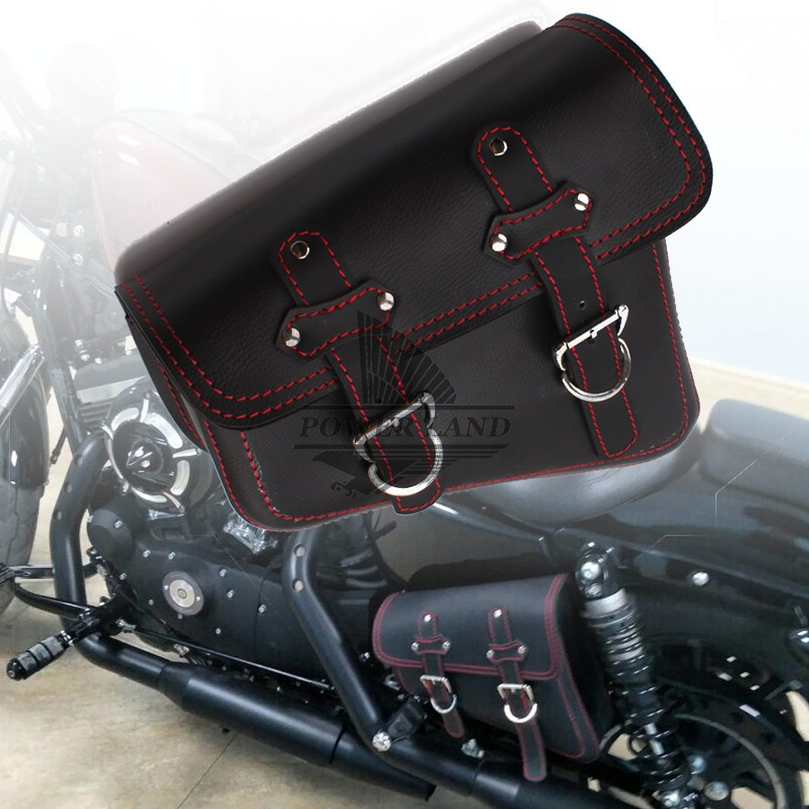 for Harley Sportster XL 883 1pcs New Black PU Leather Red Line Motorcycle Luggage Side Saddle Bags Rider Motorbike Panniersfor Harley Sportster XL 883 1pcs New Black PU Leather Red Line Motorcycle Luggage Side Saddle Bags Rider Motorbike Panniers