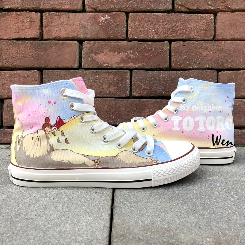 Wen Hand Painted Sneakers Design Custom My Neighbor Totoro Women Men's High Top Anime Canvas Shoes for Presents wen hand painted shoes design custom anime my neighbor totoro high top canvas sneakers for men women s christmas gifts