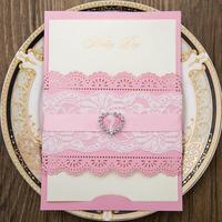 New White Pink Elegant Rhinestone Love Wedding Invitation Laser Cut Lace Wedding Invitations Card Supplies 50pcs/pack