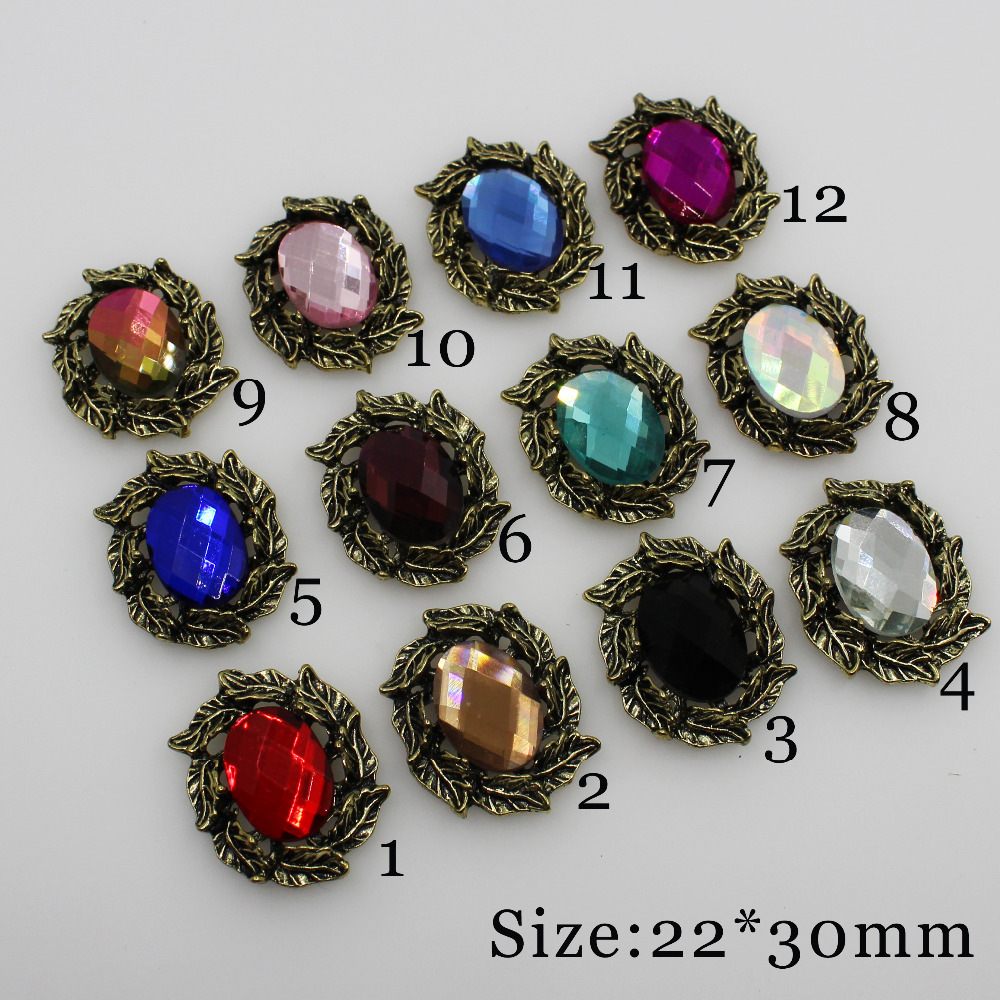 New 5pc Retro gold color clear glass rhinestone button 2018 Wedding  Decoraation Flat back clothing metal 9d175002a3a1