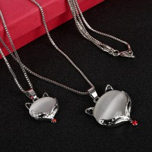 High Quality Cat Eye Stone Fox Animal Head Pendant Necklace Multi-layer Chains Necklace For Women