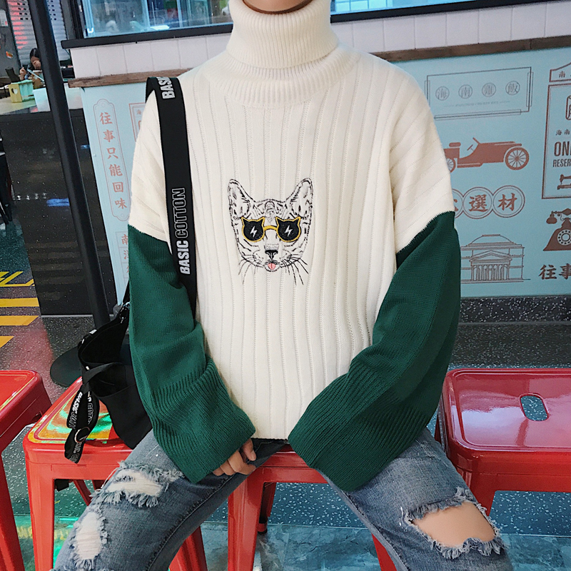 2017 Winter Cat Embroidery Knitting Fashion Coat Sleeve Single Man Knit Woolen font b Sweater b