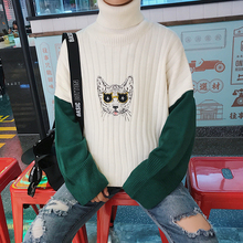 2017 Winter Cat Embroidery Knitting Fashion Coat Sleeve Single Man Knit Woolen Sweater Pullover Brand In Warm Turtleneck S-XL