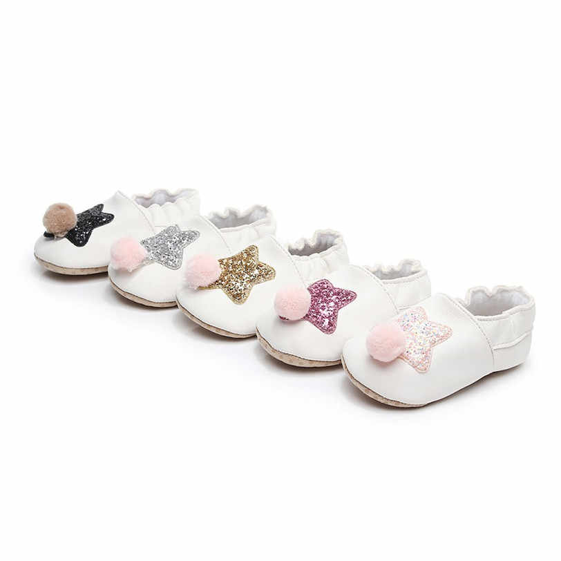bfa3f014a6c8 ... Baby Shoes Boys Girls Kids First Walkers PU Leather Spring Autumn Bling  Bling Five Star Patterns