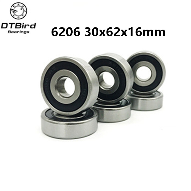 1Pcs 6206-2RS 6206RS hybrid ceramic ball Deep Groove Ball Bearings 30 x 62 x 16mm Free shipping High Quality 16mm ceramic