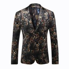 2016 Fashion Mens Printed Blazer Jacket Pattern Slim Fitted Prom Blazers Men Suit Jacket Stage Costumes For Singers