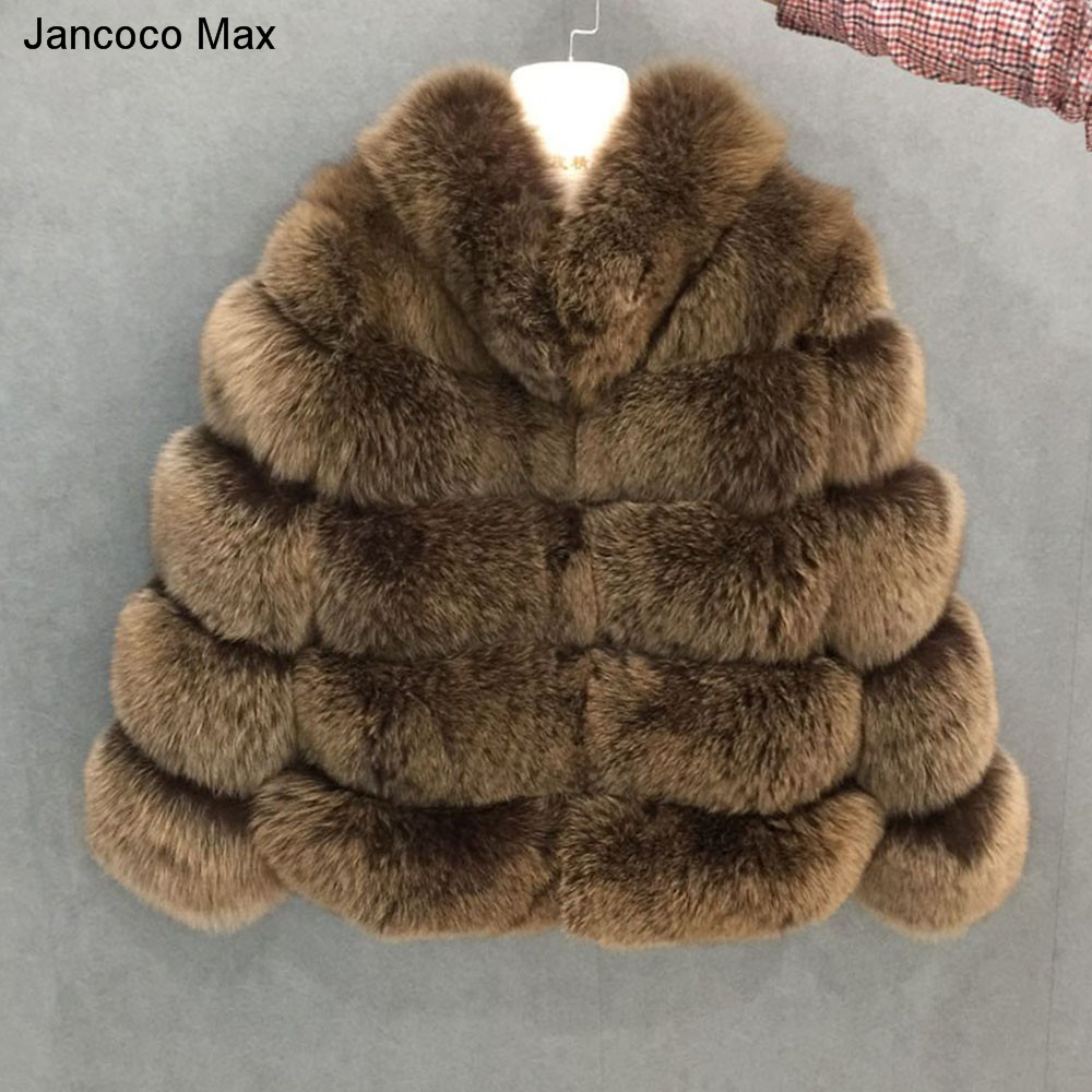 Jancoco Max 2018 Nuovo Inverno delle Donne di Spessore Caldo 5 Righe Reale Pelliccia di Volpe Collare di Alta Qualità Cappotto Giacca di Pelliccia di modo Cappotto S7194