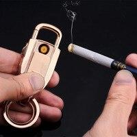 Brand Top Men Car Key Chain Women New USB Charging Intelligent Lighter Metal Keychain Key Holder