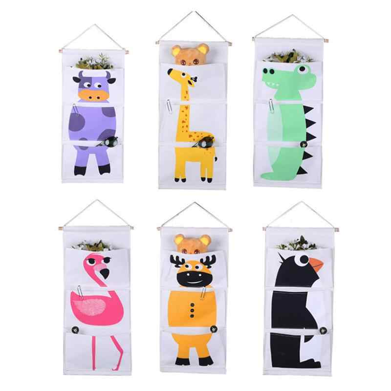 3 Pocket Animal Striped Bag Canvas Storage Bag Wall-Mounted Wardrobe Hanging Bag Home Wall Decoration Door Multi-Layer Linen Sto