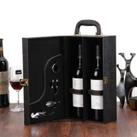 Wine Bottle Box Leather Luxury Bag 2 Red Wine Champagne Tote Carrier Handle Travel Case Organizer Gift