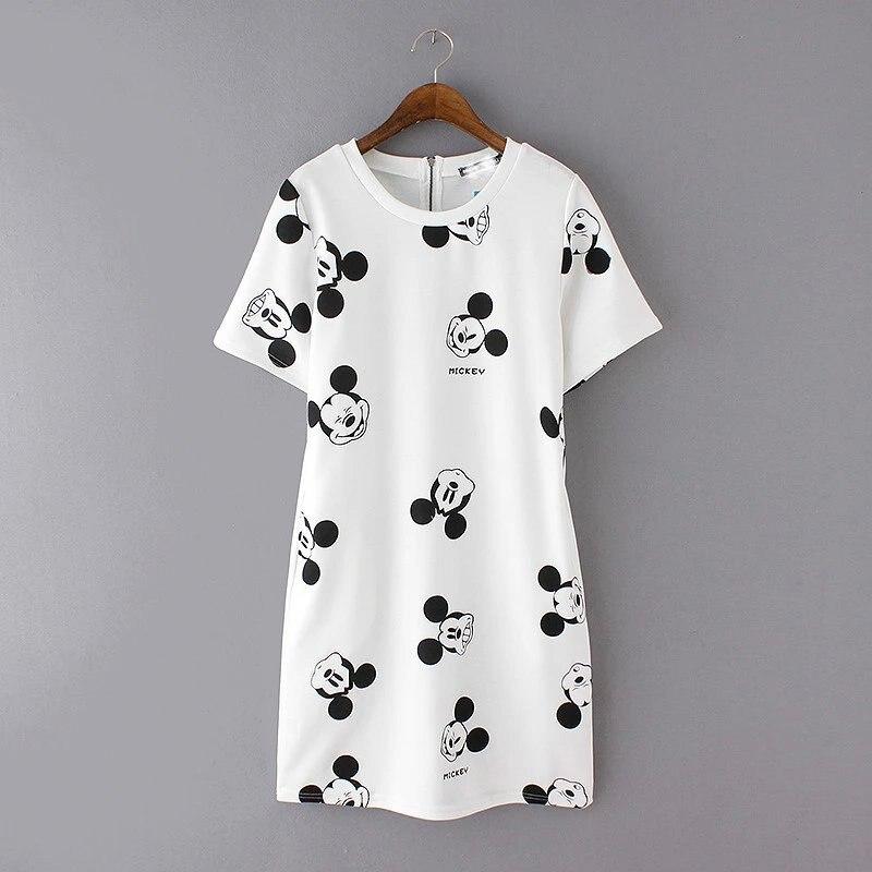 2016 summer new style Mickey T shirt printing head dress Short sleeved waist dresses 3 color