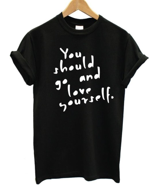 Черная футболка Летний стиль 2017 г. вы должны пойти и любить себя письмо печати Футболка Прямая доставка