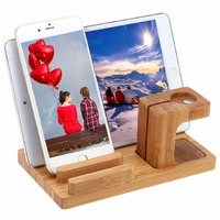 Natural Bamboo Charging Dock Station Bracket Cradle Stand Phone Holder Watch Wood For Iphone 5 5s