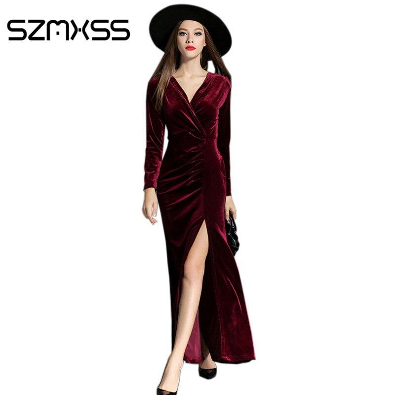 2016 automne hiver robes soirée rouge longue robe en velours pour les femmes Vintage Sexy haute fendue longue Maxi robes Vestido Longo