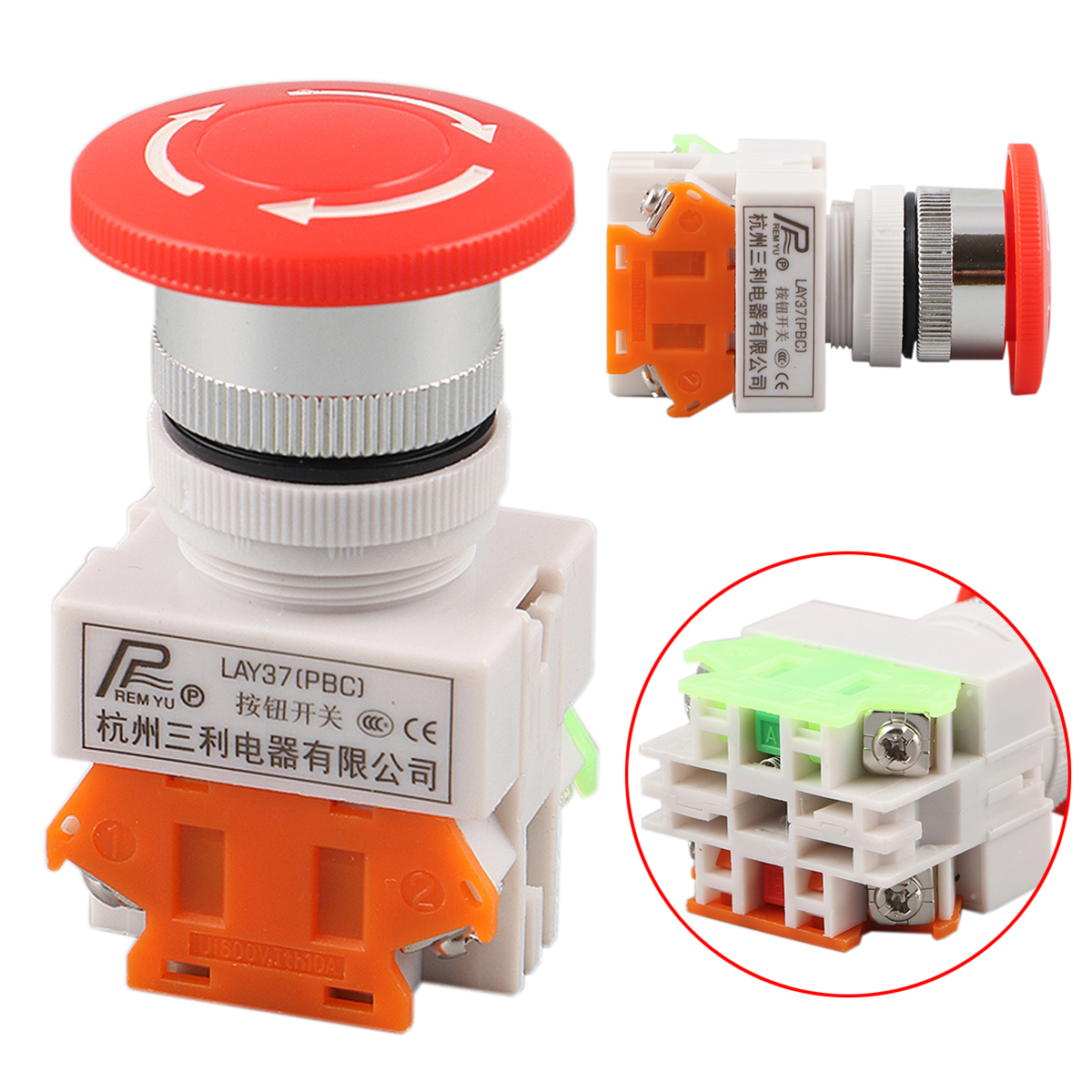 Red Sign Mushroom Emergency Stop Push Button Switch 4 Screw Terminal DPST Double-Pole-Single-Throw 600V 10A 1pc new emergency stop push button switch self locking red mushroom switch 660v 10a