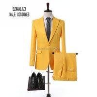 Elegant Brand Men Suits 2018 Custom Made Latest Coat Pant Design Fashion Yellow Suit For Wedding Groom Best Man Suit Prom Tuxedo