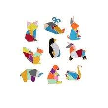 Кролик оригами лиса кошка лошадь Лебедь КИТ медведь белка Пингвин слон Эмаль Булавка Металл животное брошь джинсовый воротник и сумка значок