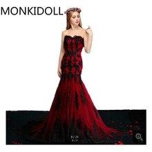 cac22e1efc05 Vestido De Festa vinho sereia preto apliques de renda do vestido de  casamento strapless querida neck